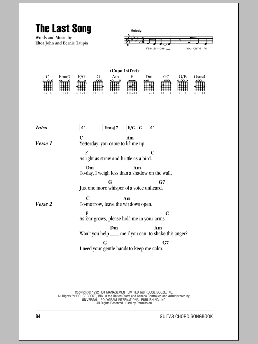 Elton John The Last Song sheet music notes and chords. Download Printable PDF.