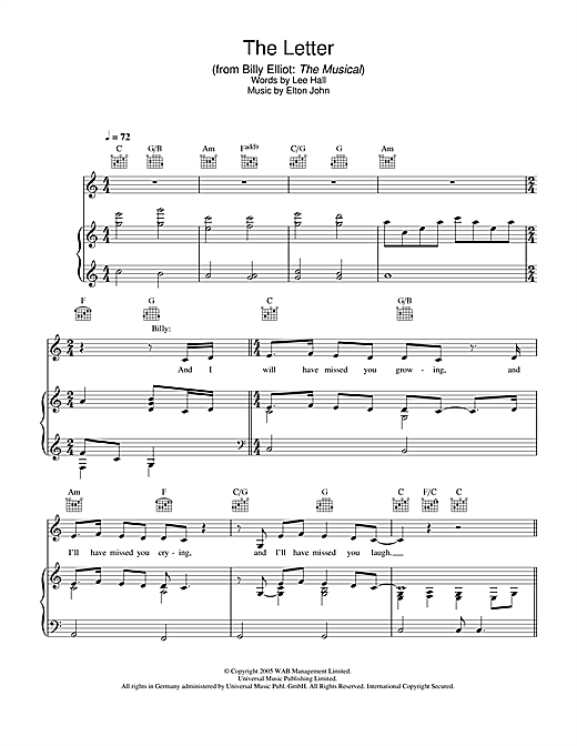 Elton John The Letter (from Billy Elliot: The Musical) sheet music notes and chords