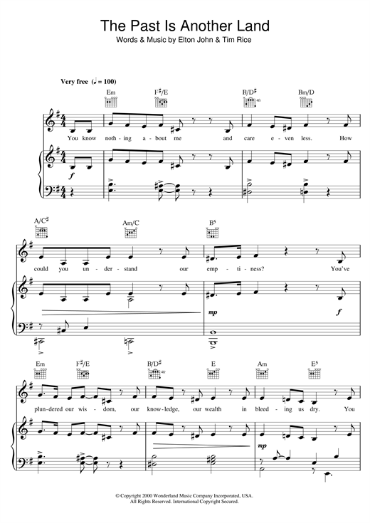 Elton John The Past Is Another Land (from Aida) sheet music notes and chords. Download Printable PDF.