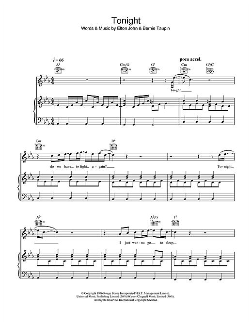 Elton John Tonight sheet music notes and chords. Download Printable PDF.