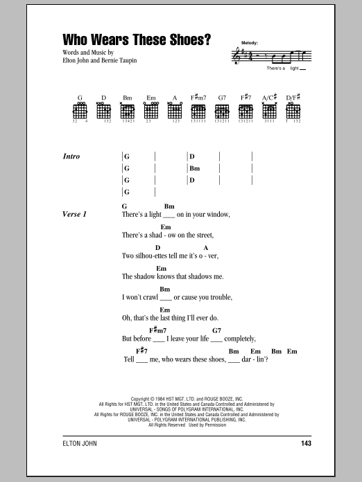 Elton John Who Wears These Shoes? sheet music notes and chords. Download Printable PDF.