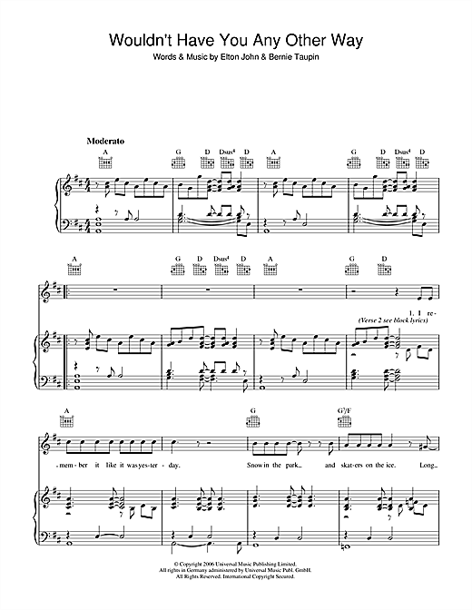 Elton John Wouldn't Have You Any Other Way (NYC) sheet music notes and chords. Download Printable PDF.