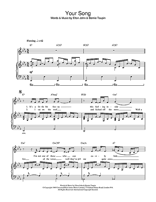 Elton John Your Song sheet music notes and chords. Download Printable PDF.