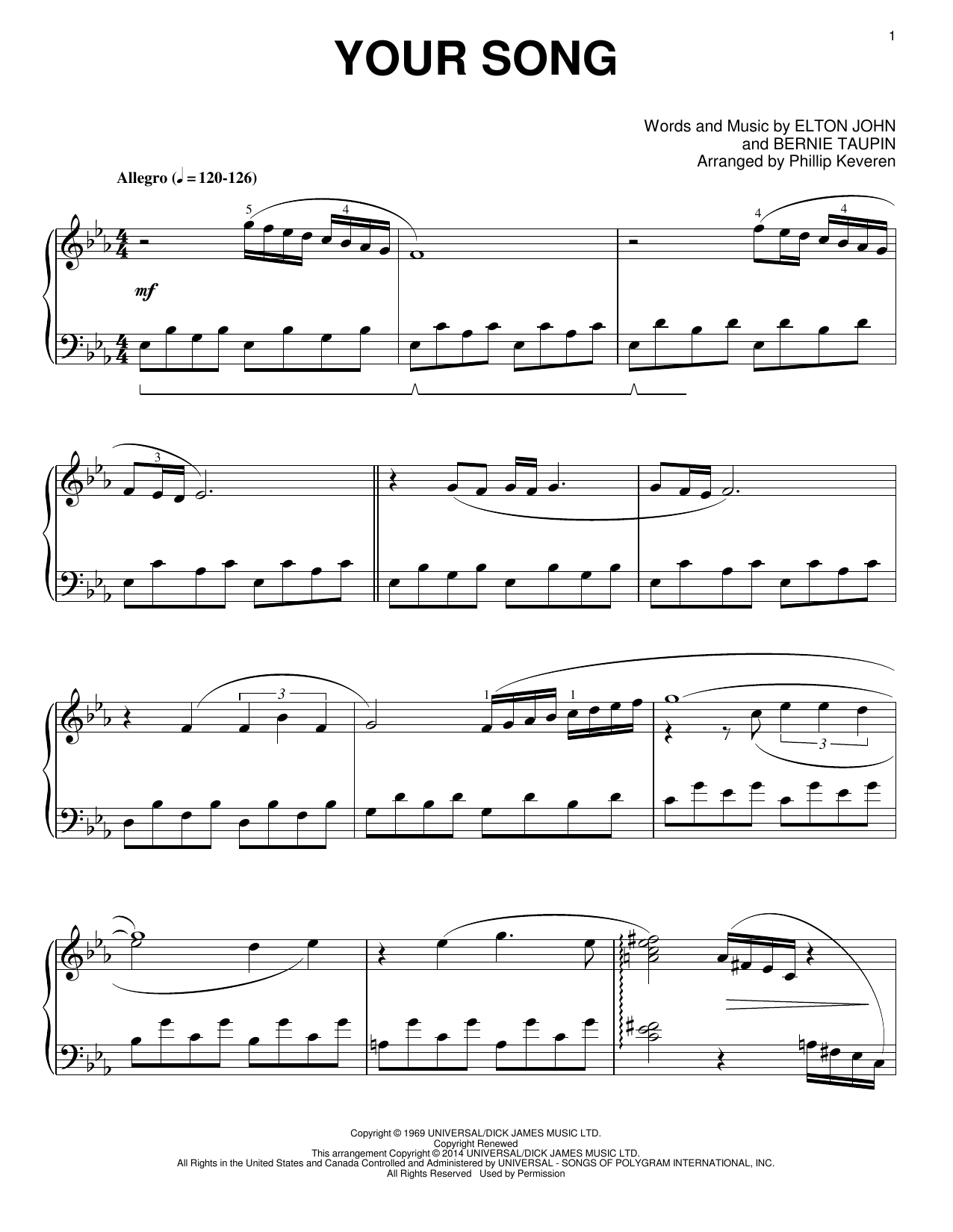 Elton John Your Song [Classical version] (arr. Phillip Keveren) sheet music notes and chords