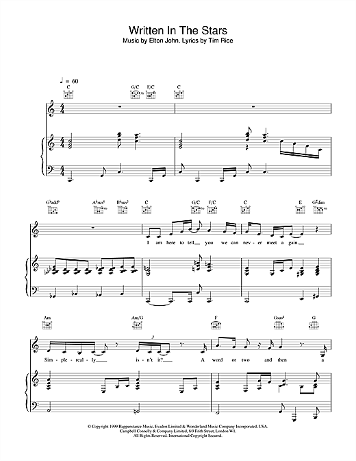 Elton John & LeAnn Rimes Written In The Stars sheet music notes and chords. Download Printable PDF.