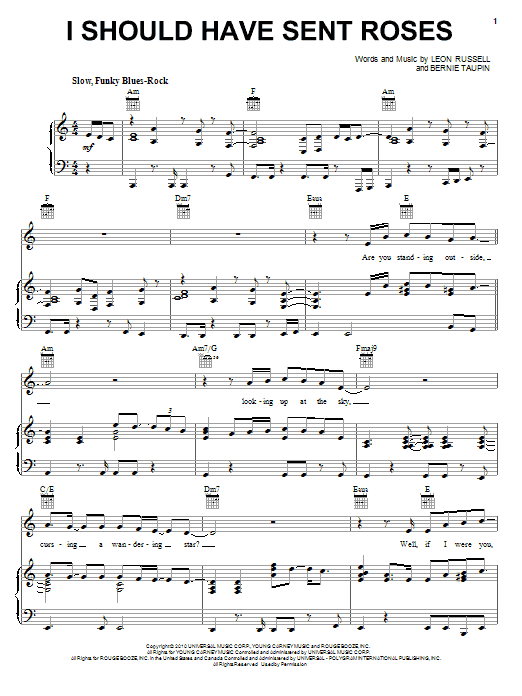 Elton John & Leon Russell I Should Have Sent Roses sheet music notes and chords. Download Printable PDF.