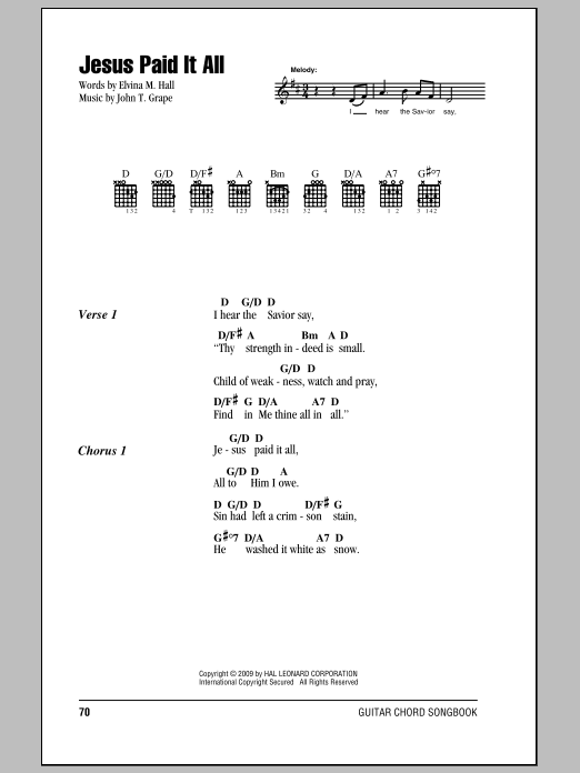 Elvina M. Hall Jesus Paid It All sheet music notes and chords. Download Printable PDF.