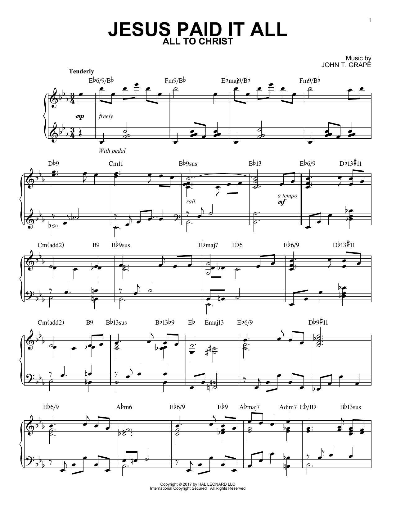 Elvina M. Hall Jesus Paid It All [Jazz version] sheet music notes and chords. Download Printable PDF.