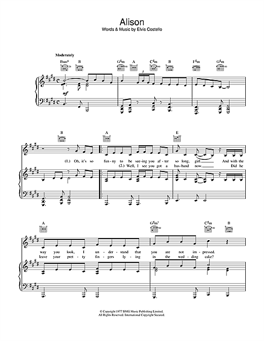 Elvis Costello Alison sheet music notes and chords. Download Printable PDF.