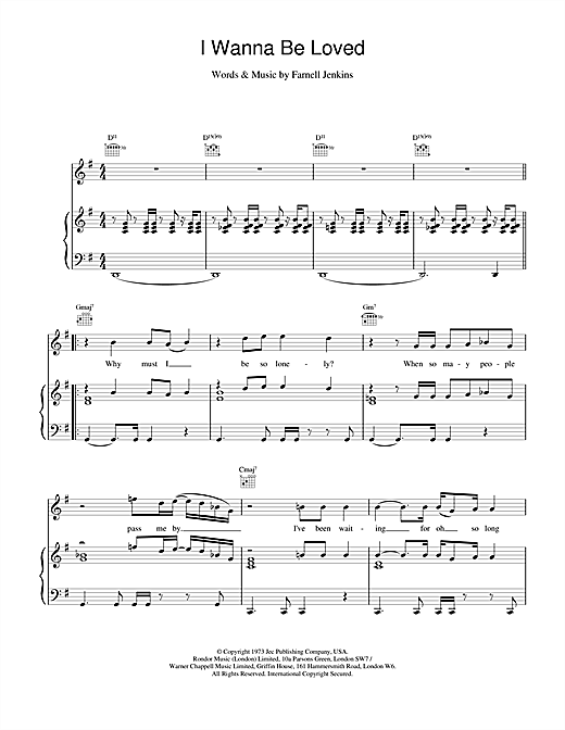 Elvis Costello I Wanna Be Loved sheet music notes and chords