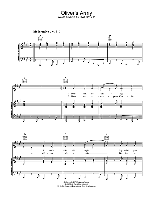 Elvis Costello Oliver's Army sheet music notes and chords. Download Printable PDF.