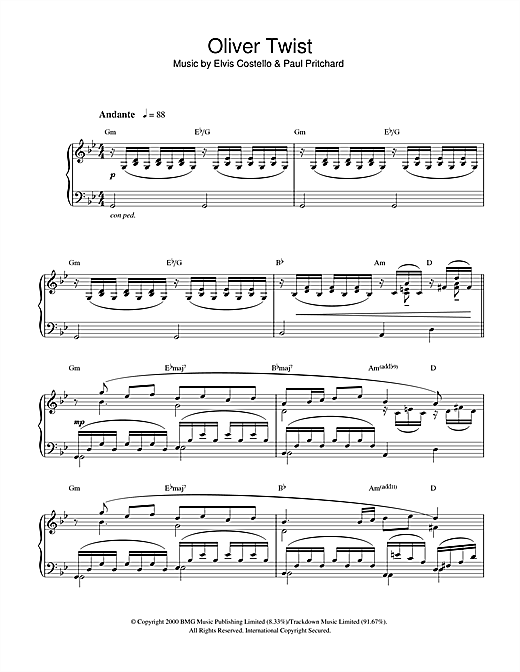 Elvis Costello Oliver Twist sheet music notes and chords. Download Printable PDF.