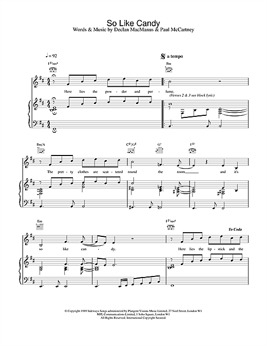 Elvis Costello So Like Candy sheet music notes and chords. Download Printable PDF.