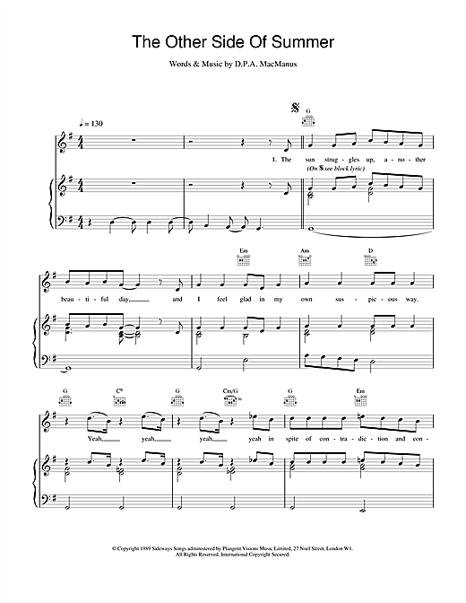 Elvis Costello The Other Side Of Summer sheet music notes and chords. Download Printable PDF.