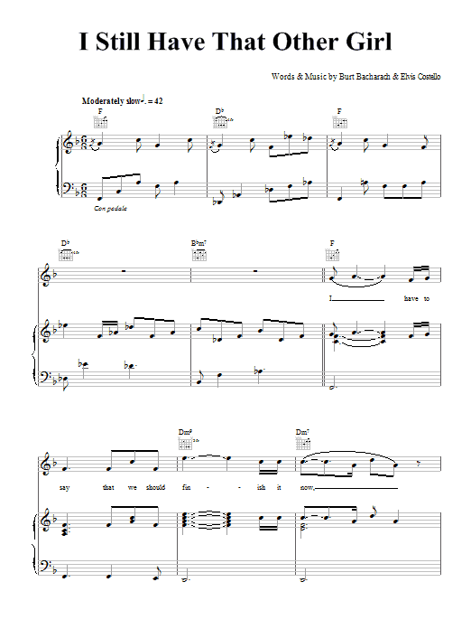 Elvis Costello and Burt Bacharach I Still Have That Other Girl sheet music notes and chords. Download Printable PDF.