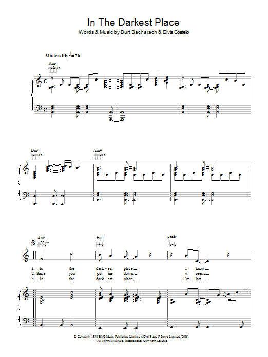 Elvis Costello and Burt Bacharach In The Darkest Place sheet music notes and chords. Download Printable PDF.