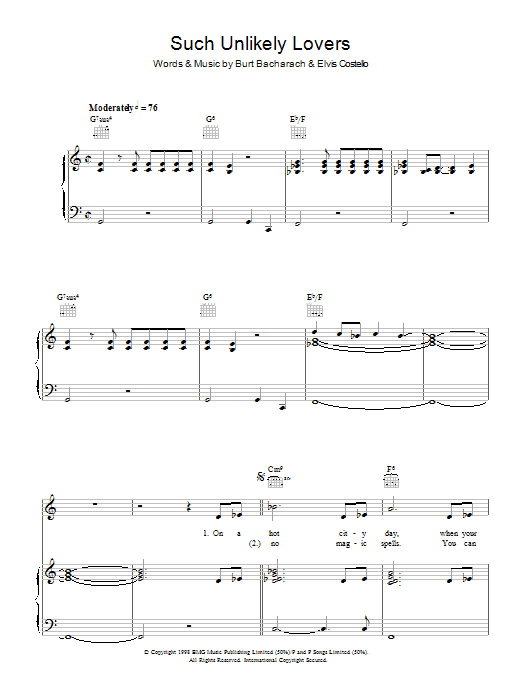 Elvis Costello and Burt Bacharach Such Unlikely Lovers sheet music notes and chords. Download Printable PDF.