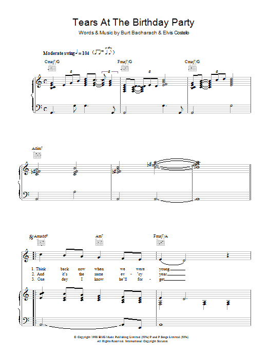 Elvis Costello and Burt Bacharach Tears At The Birthday Party sheet music notes and chords. Download Printable PDF.