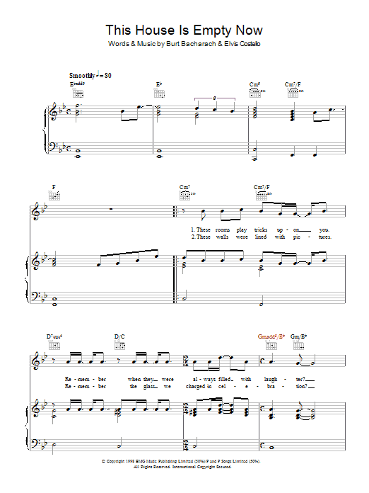 Elvis Costello and Burt Bacharach This House Is Empty Now sheet music notes and chords. Download Printable PDF.