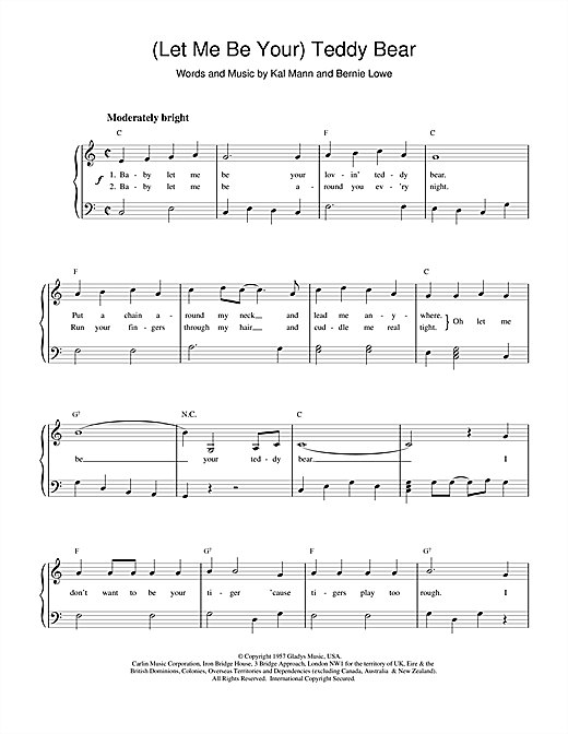 Elvis Presley (Let Me Be Your) Teddy Bear sheet music notes and chords