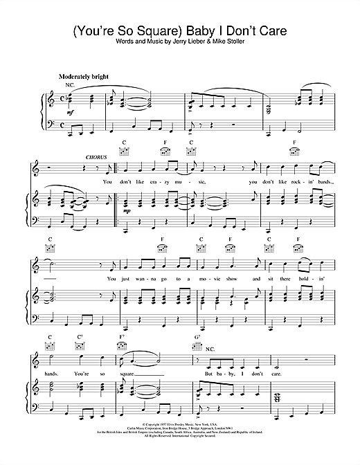 Elvis Presley (You're So Square) Baby I Don't Care sheet music notes and chords