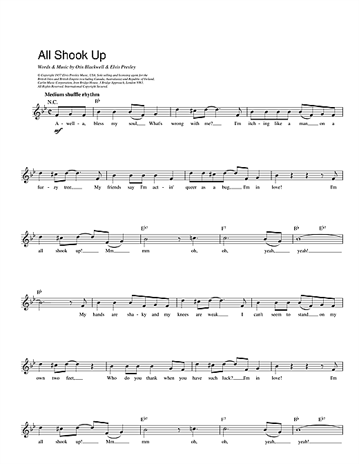 Elvis Presley All Shook Up sheet music notes and chords