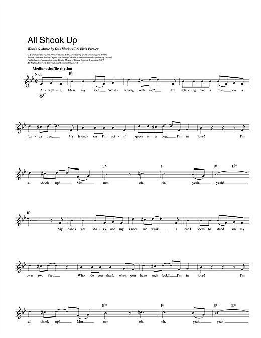 Elvis Presley All Shook Up sheet music notes and chords. Download Printable PDF.