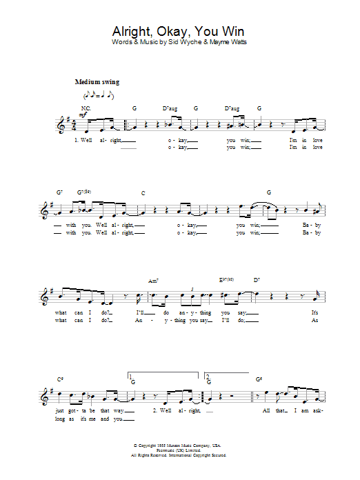Peggy Lee Alright, Okay, You Win sheet music notes and chords. Download Printable PDF.