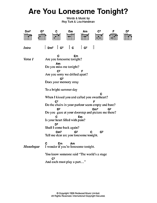 Elvis Presley Are You Lonesome Tonight? sheet music notes and chords