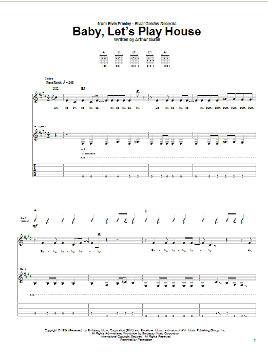 Elvis Presley Baby, Let's Play House sheet music notes and chords. Download Printable PDF.