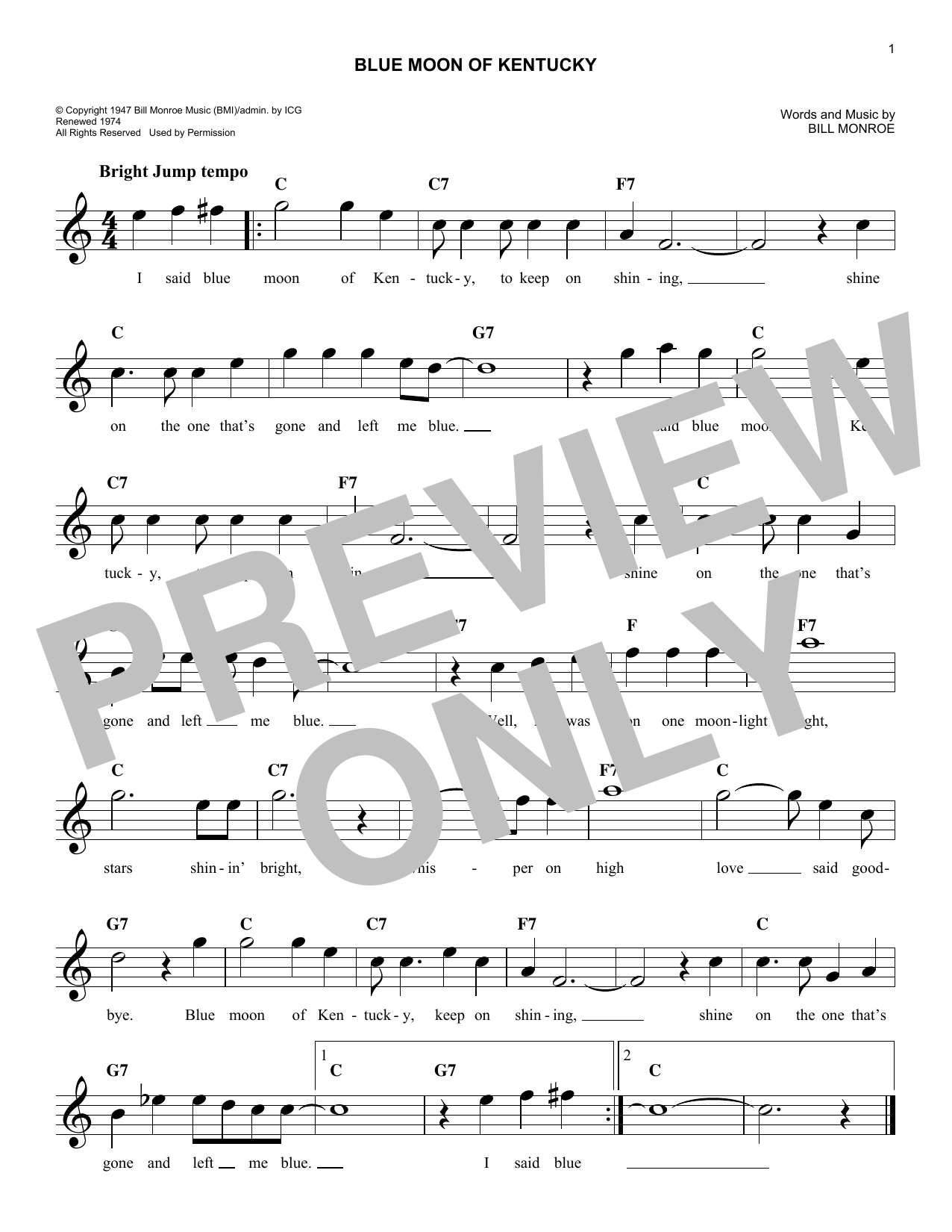 Elvis Presley Blue Moon Of Kentucky sheet music notes and chords. Download Printable PDF.