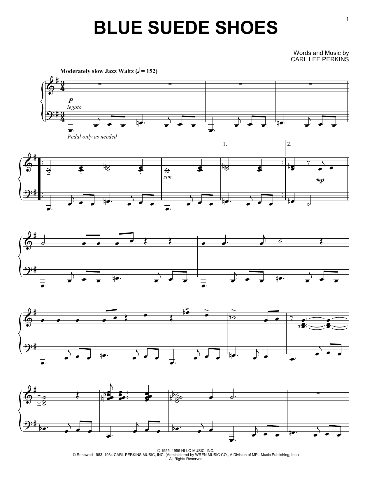 Elvis Presley Blue Suede Shoes [Jazz version] sheet music notes and chords. Download Printable PDF.