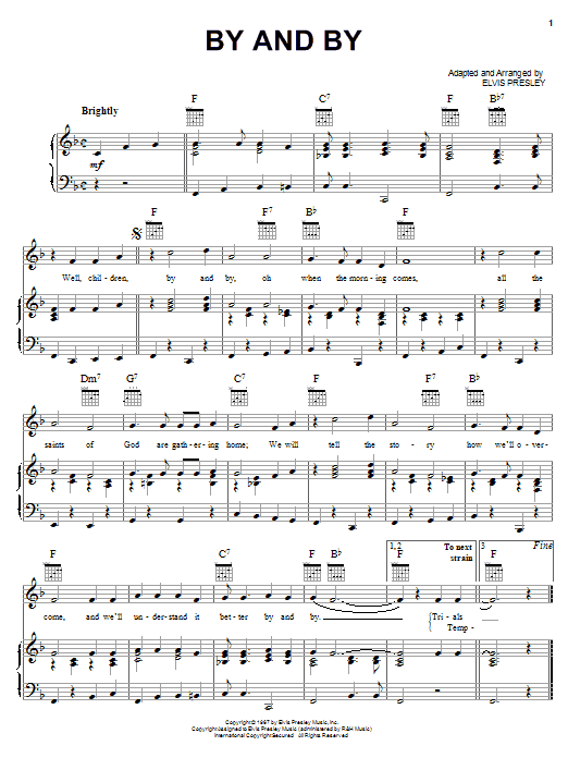 Elvis Presley By And By sheet music notes and chords. Download Printable PDF.