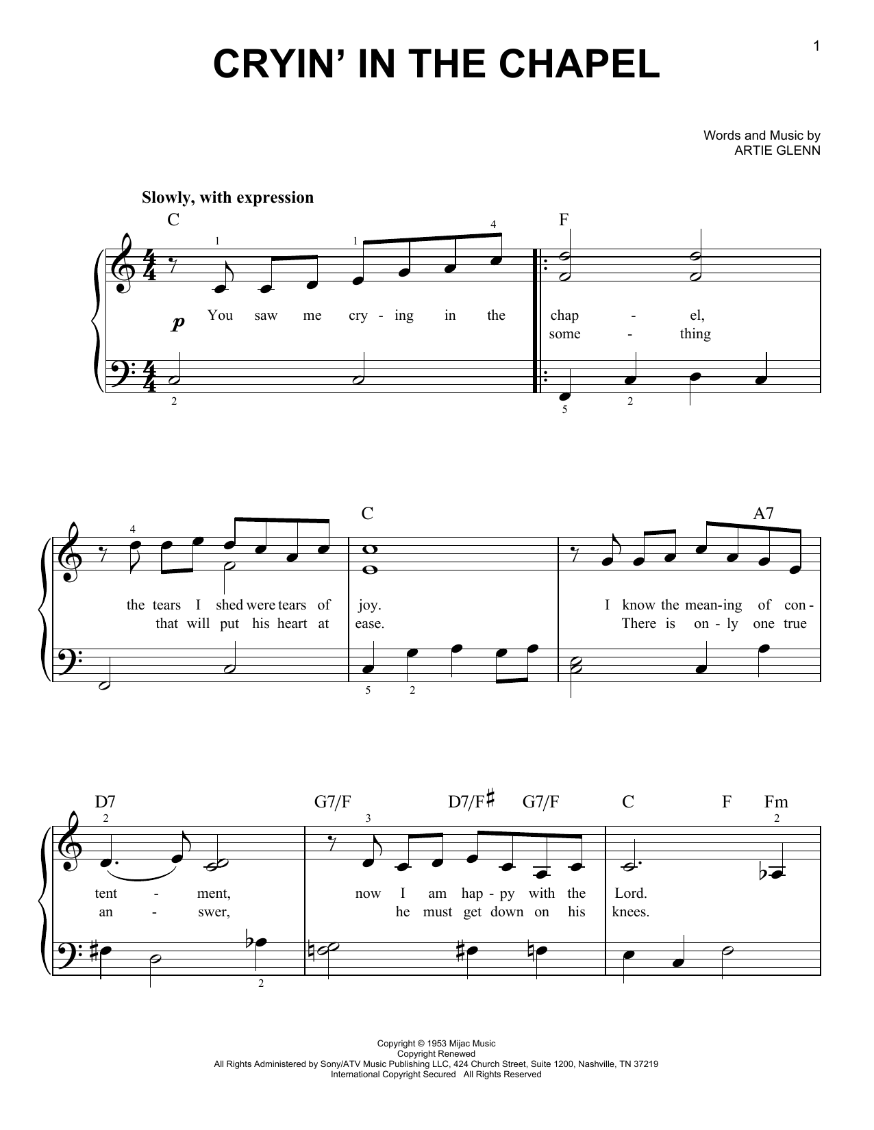 Elvis Presley Crying In The Chapel sheet music notes and chords. Download Printable PDF.
