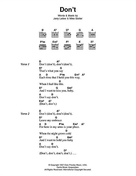 Elvis Presley Don't sheet music notes and chords