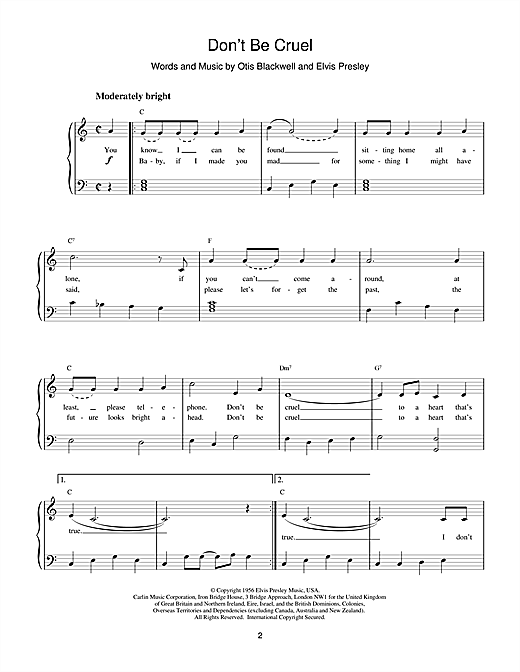Elvis Presley Don't Be Cruel sheet music notes and chords. Download Printable PDF.