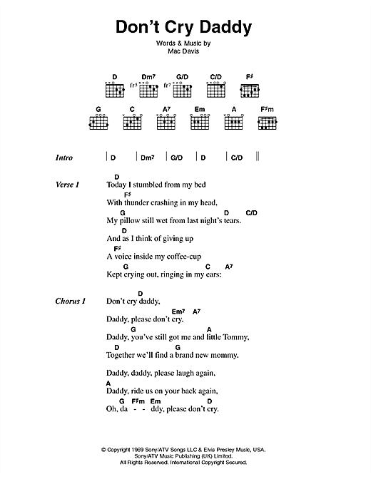 Elvis Presley Don T Cry Daddy Sheet Music Notes Chords