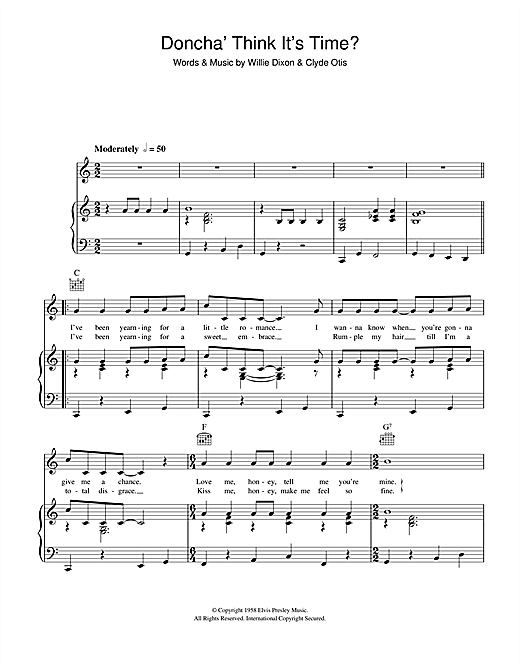 Elvis Presley Doncha Think It's Time sheet music notes and chords. Download Printable PDF.