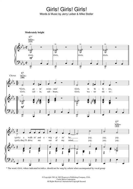 Elvis Presley Girls! Girls! Girls! sheet music notes and chords. Download Printable PDF.