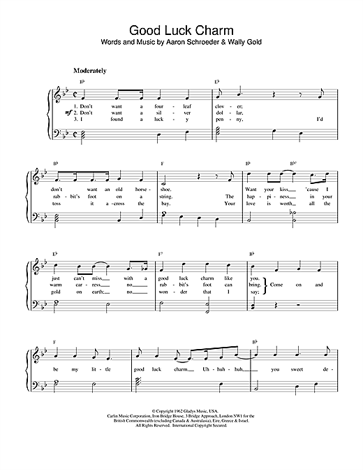 Elvis Presley Good Luck Charm sheet music notes and chords. Download Printable PDF.