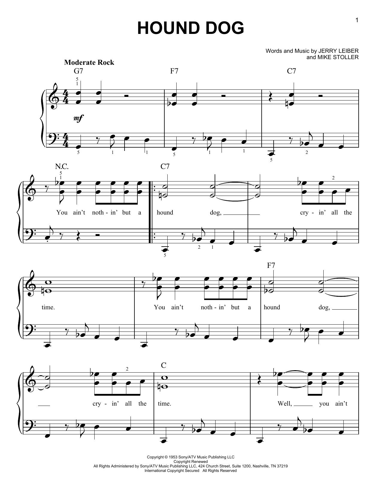 Elvis Presley Hound Dog sheet music notes and chords. Download Printable PDF.