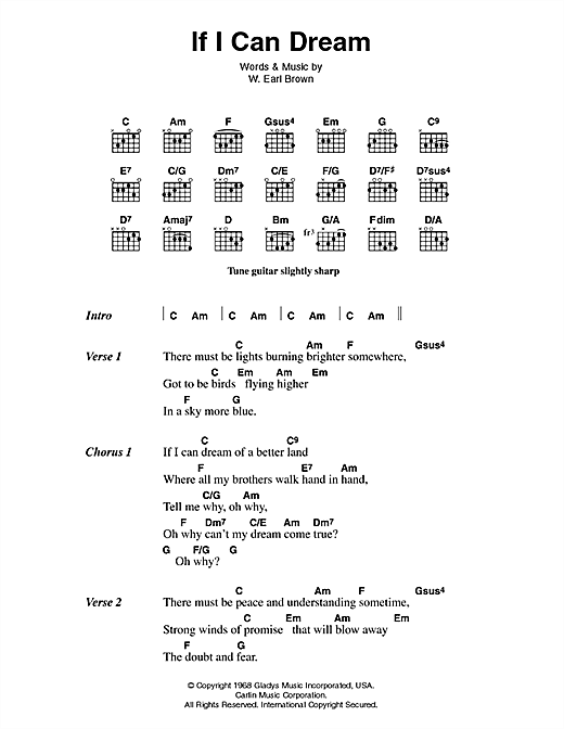 Elvis Presley If I Can Dream sheet music notes and chords. Download Printable PDF.