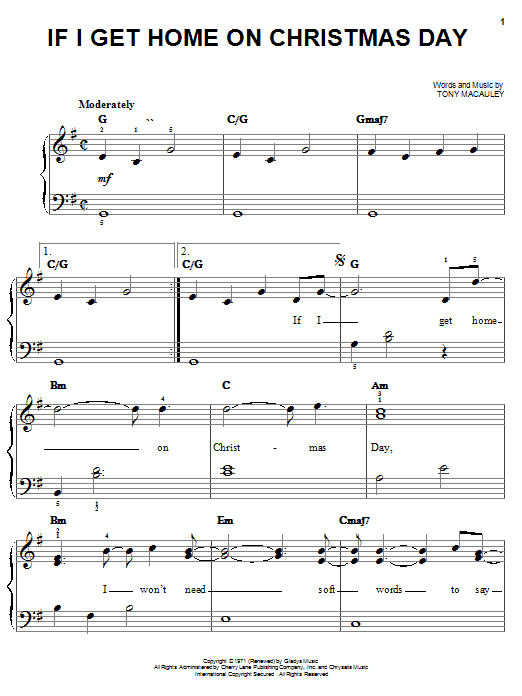 Elvis Presley If I Get Home On Christmas Day sheet music notes and chords