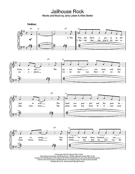 Elvis Presley Jailhouse Rock sheet music notes and chords. Download Printable PDF.