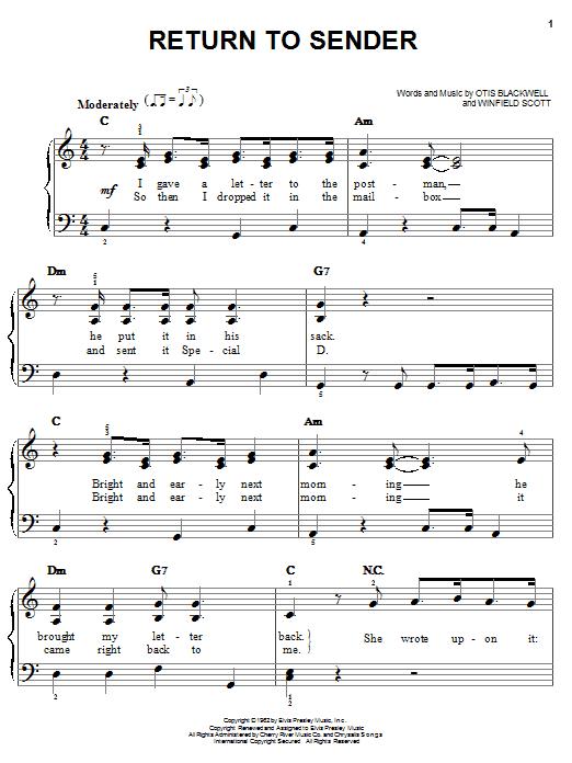 Elvis Presley Return To Sender sheet music notes and chords
