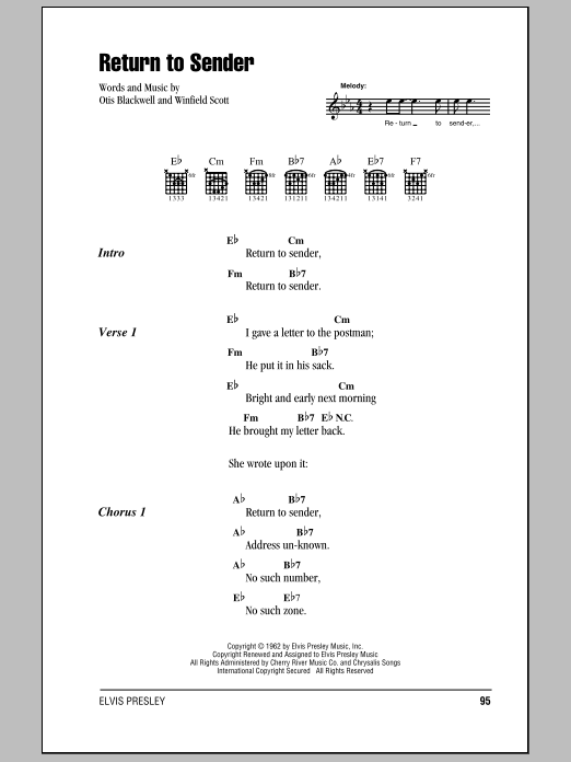 Elvis Presley Return To Sender sheet music notes and chords. Download Printable PDF.