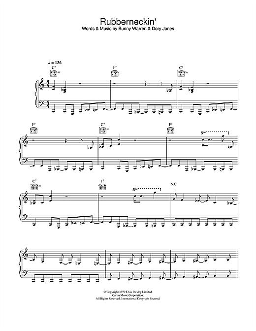 Elvis Presley Rubberneckin' sheet music notes and chords. Download Printable PDF.