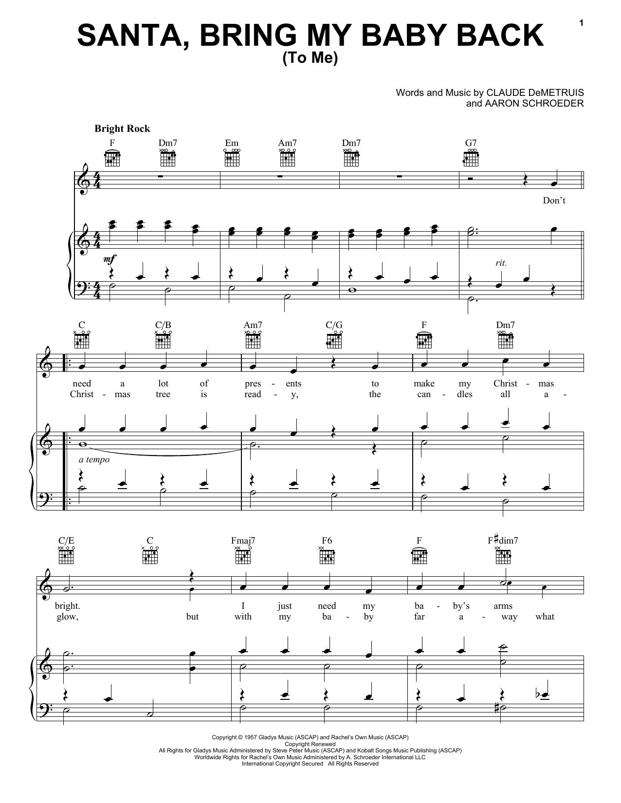 Elvis Presley Santa, Bring My Baby Back (To Me) sheet music notes and chords. Download Printable PDF.