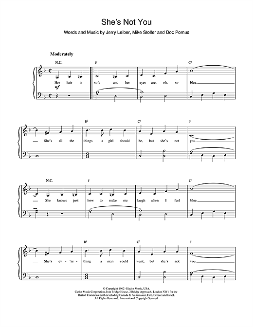 Elvis Presley She's Not You sheet music notes and chords. Download Printable PDF.