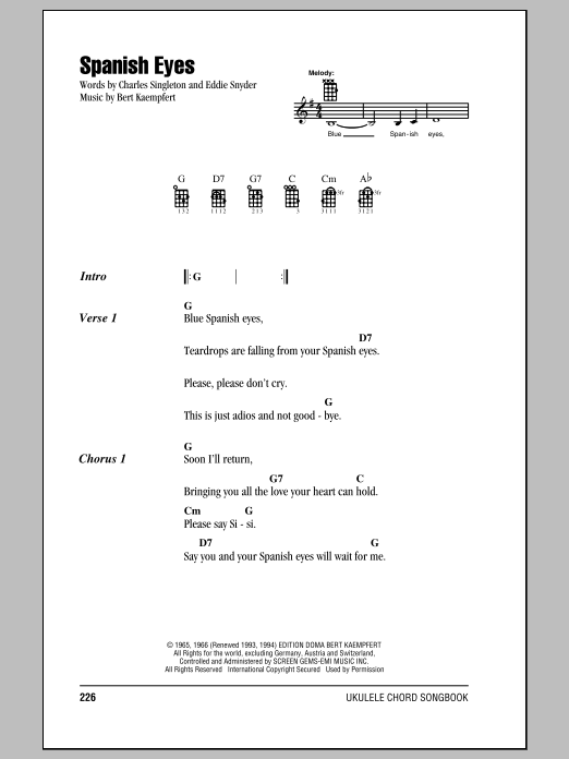 Elvis Presley Spanish Eyes sheet music notes and chords. Download Printable PDF.